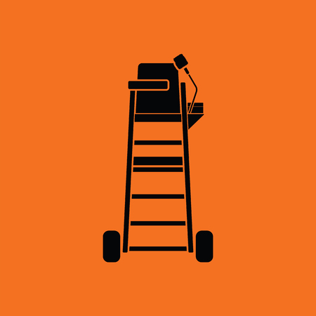 Tennis referee chair tower icon. Orange background with black. Vector illustration.