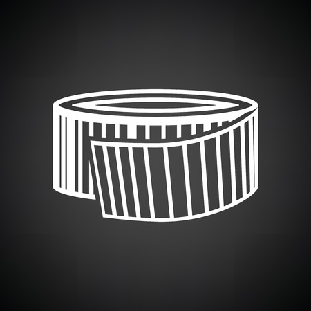 Measure tape icon. Black background with white. Vector illustration.
