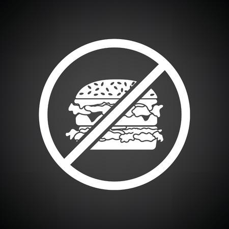 prohibido: Prohibido hamburguesa icono. Fondo negro con blanco. Ilustración del vector.