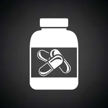 white pills: Fitness pills in container icon. Black background with white. Vector illustration.