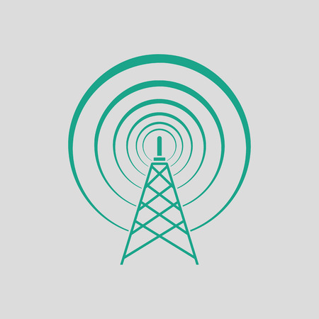 tv tower: Radio antenna icon. Gray background with green. Vector illustration. Illustration