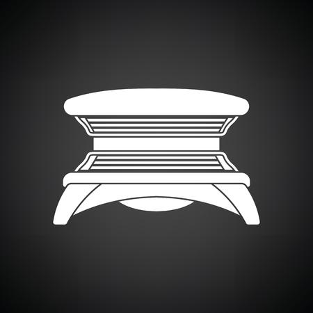 icono de solarium. Fondo negro con blanco. Ilustración del vector.
