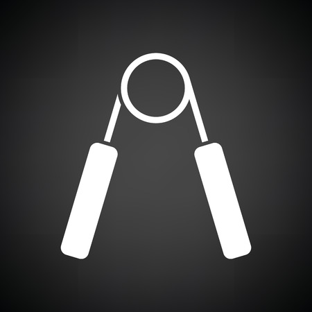 hand gripper: Hands expander icon. Black background with white. Vector illustration.