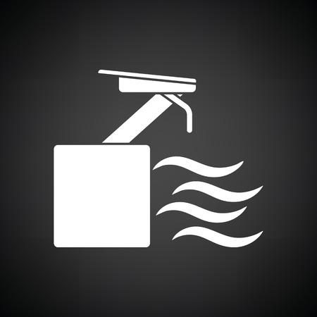 diving platform: Diving stand icon. Black background with white. Vector illustration. Illustration