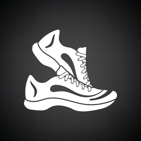 jog: Fitness sneakers icon. Black background with white. Vector illustration.