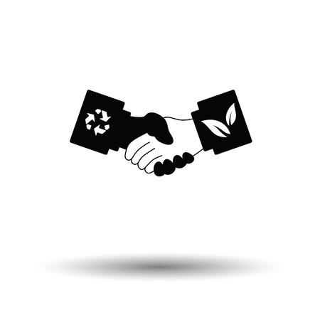 manos estrechadas: Ecological handshakes icon. White background with shadow design. Vector illustration.