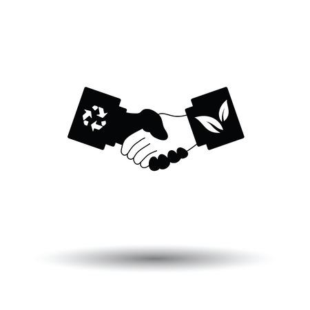 manos estrechadas: icono de apretones de manos ecológica. Fondo blanco con el diseño de la sombra. Ilustración del vector.