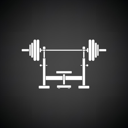 barbel: Bench with barbel icon. Black background with white. Vector illustration.