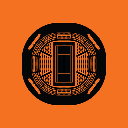 grandstand: Tennis stadium aerial view icon. Orange background with black. Vector illustration.