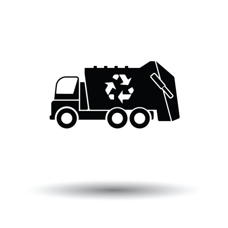 utilize: Garbage car recycle icon. White background with shadow design. Vector illustration.