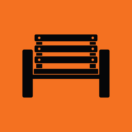 sidelit: Tennis player bench icon. Orange background with black. Vector illustration.