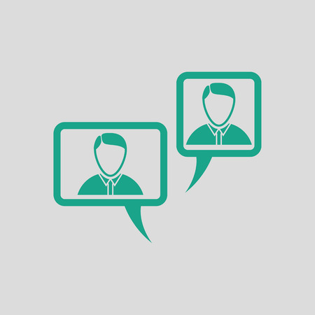 chat icon: Chat icon. Gray background with green. Vector illustration.