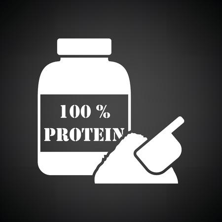 gainer: Protein conteiner icon. Black background with white. Vector illustration.
