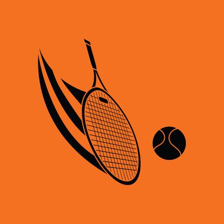 hit: Tennis racket hitting a ball icon. Orange background with black. Vector illustration. Illustration