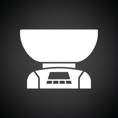 freestanding: Kitchen electric scales icon. Black background with white. Vector illustration.
