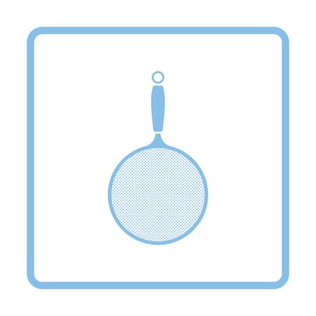 drainer: Kitchen colander icon. Blue frame design. Vector illustration.