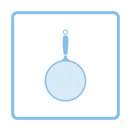 sieve: Kitchen colander icon. Blue frame design. Vector illustration.