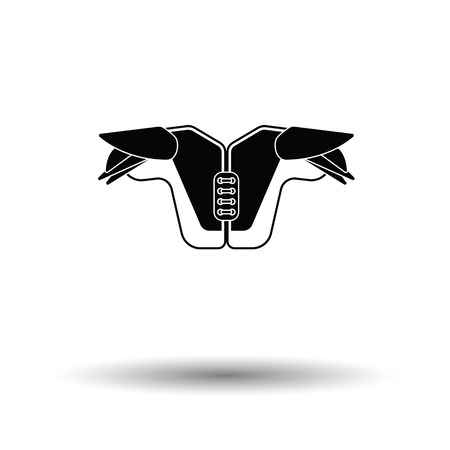 American football chest protection icon. White background with shadow design. Vector illustration.