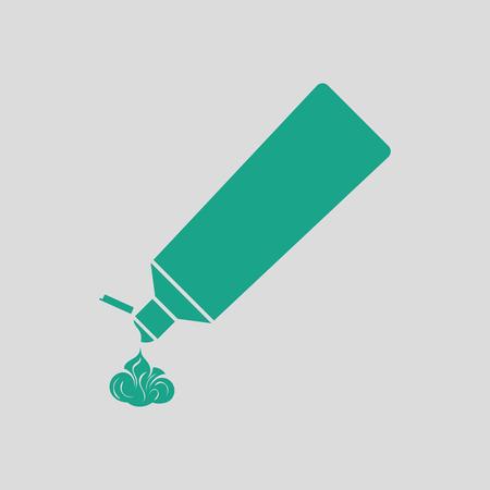 pasta dental: icono de tubo de pasta de dientes. Fondo gris con verde. Ilustración del vector. Vectores