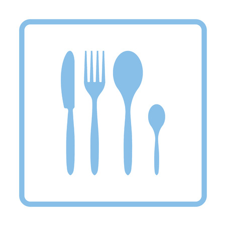 silverware: Silverware set icon. Blue frame design. Vector illustration.