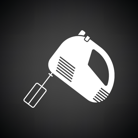 Kitchen hand mixer icon. Black background with white. Vector illustration.