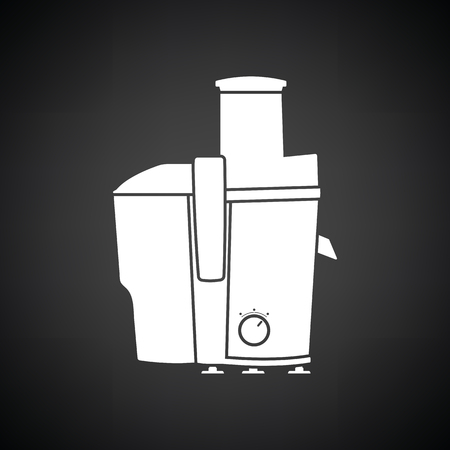 juice extractor: Juicer machine icon. Black background with white. Vector illustration.