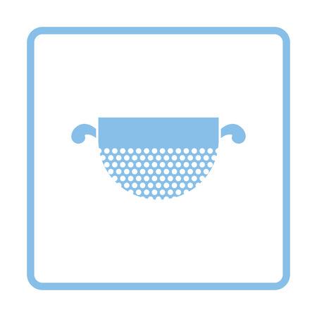 food preparation: Kitchen colander icon. Blue frame design. Vector illustration.