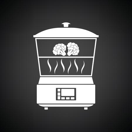 steam cooker: Kitchen steam cooker icon. Black background with white. Vector illustration. Illustration