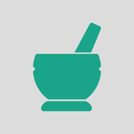 recovering: Mortar and pestel icon. Gray background with green. Vector illustration.