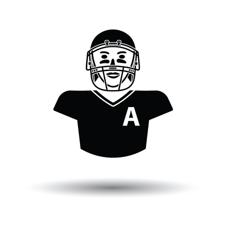 facemask: American football player icon. White background with shadow design. Vector illustration.