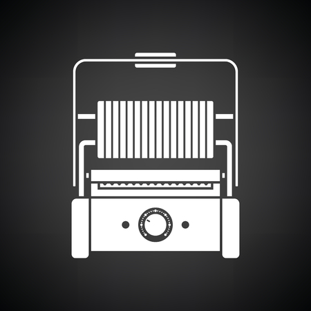 open sandwich: Kitchen electric grill icon. Black background with white. Vector illustration. Illustration