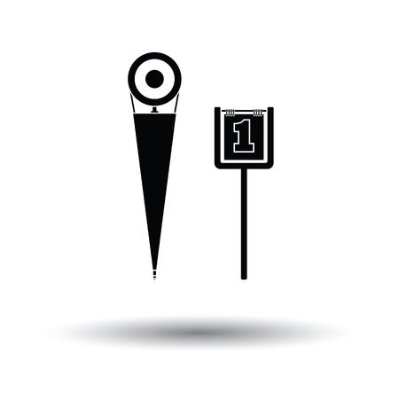 umpire: American football sideline markers icon. White background with shadow design. Vector illustration.