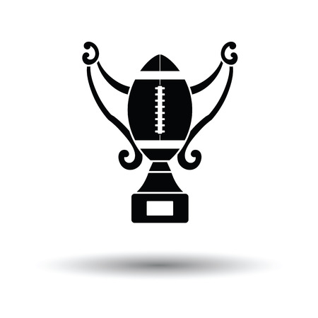 American football trophy cup icon. White background with shadow design. Vector illustration.