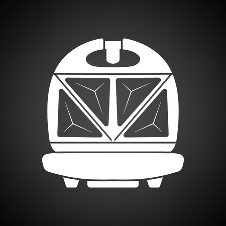 bread maker: Kitchen sandwich maker icon. Black background with white. Vector illustration.