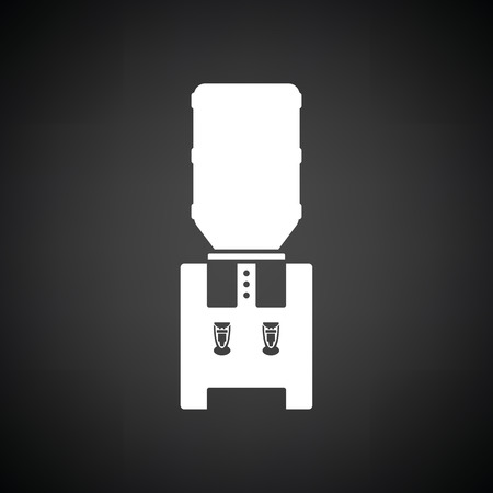 nonalcoholic: Water cooling machine. Black background with white. Vector illustration. Illustration
