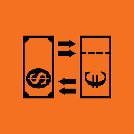 credit union: Currency exchange icon. Orange background with black. Vector illustration.