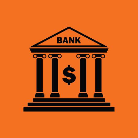 Bank icon. Orange background with black. Vector illustration.