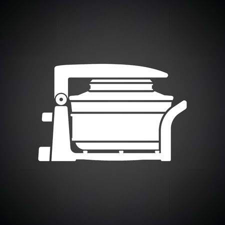hotter: Electric convection oven icon. Black background with white. Vector illustration.