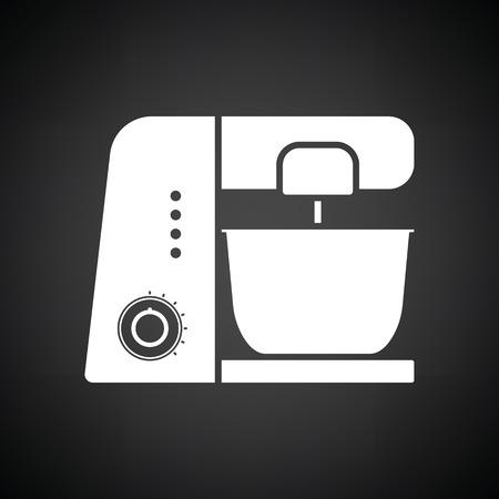 Küche Lebensmittel-Prozessor-Symbol. Schwarzer Hintergrund mit weißen. Vektor-Illustration.