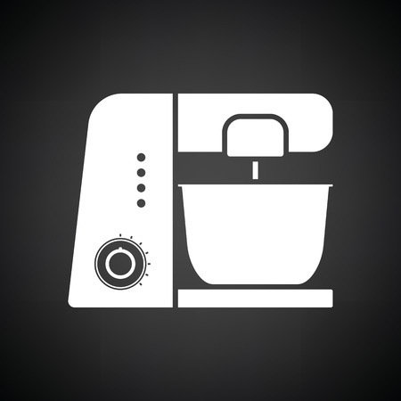 food processor: Kitchen food processor icon. Black background with white. Vector illustration.