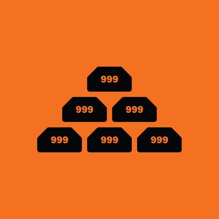 bullion: Gold bullion icon. Orange background with black. Vector illustration.
