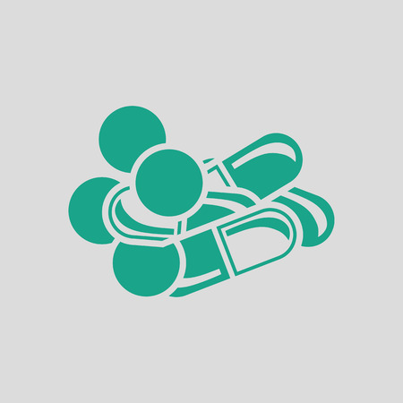 Pill and tabs icon. Gray background with green. Vector illustration. Illustration