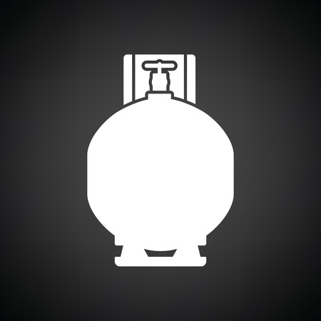 explosive gas: Gas cylinder icon. Black background with white. Vector illustration.