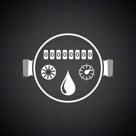economize: Water meter icon. Black background with white. Vector illustration.
