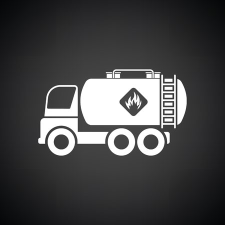 Fuel tank truck icon. Black background with white. Vector illustration.