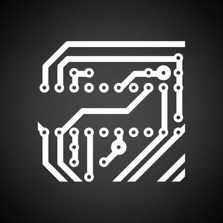 printed: Circuit board icon. Black background with white. Vector illustration.