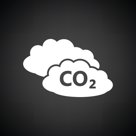 co: CO 2 cloud icon. Black background with white. Vector illustration. Illustration