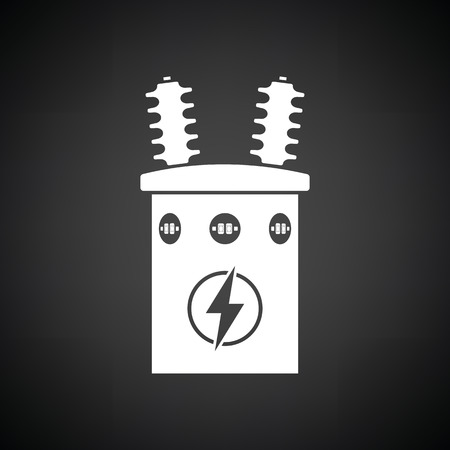 Electric Transformer Icon. Black Background With White. Vector ...