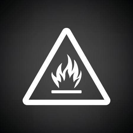 flammable: Flammable icon. Black background with white. Vector illustration.