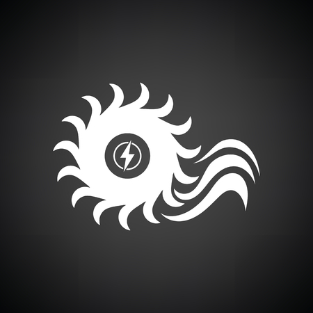 barrage: Water turbine icon. Black background with white. Vector illustration.